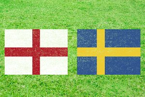 England vc Sweden Flags Soccer Match