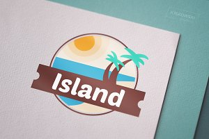 Tropical Island Resort Logo Template