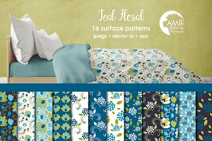 Teal Floral Papers, AMB-2369