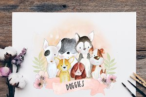 Dog Doggies Watercolour Drawing