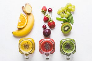 Selection of multicolored smoothies