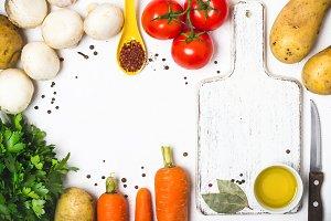Food cooking background. Fresh veget
