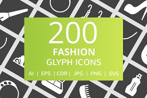 200 Fashion Glyph Inverted Icons