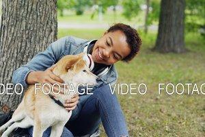 Slow motion of loving dog owner