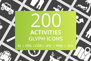 200 Activities Glyph Inverted Icons