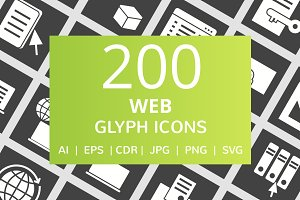200 Web Glyph Inverted Icons