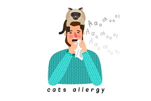 Allergic person with cat on head