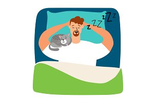 Man sleeping in bed with cat