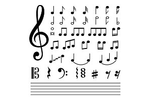 Music notes isolated on white
