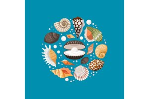 Cartoon sea shells round banner
