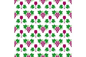 Grapes, leaves and wine glass