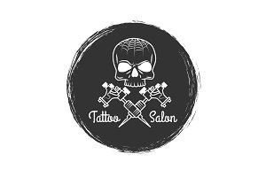 Tattoo salon grunge emblem with