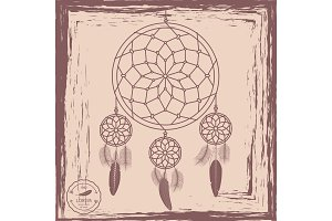 Dream catcher grunge background