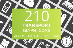 210 Transport Glyph Inverted Icons