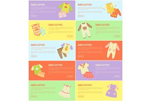 Baby Clothes Set of Colorful Vector