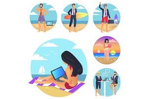 Business Summer Set Poster Vector