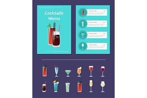 Cocktails Menu Poster with Bloody