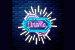 Vintage cinema emblem glowing
