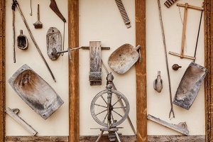 old wooden household items