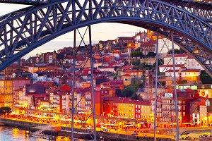 Tram on, tram bridge Porto, Portugal