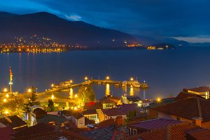 Ohrid lake city night. Macedonia