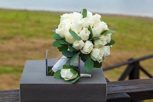 wedding bouquet from white roses