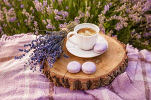 morning coffe with lavender flowers
