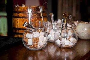 sugar bowl on the bar counter