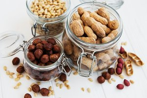Mixed nuts on a table