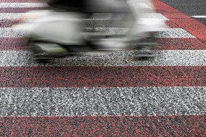 Moped in motion blur