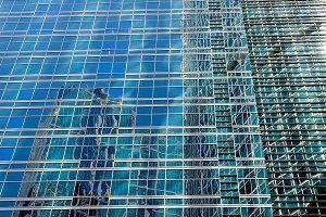 Wall of a modern skyscraper