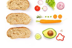 Bread and vegetables