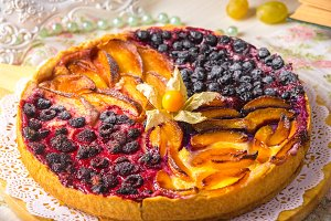 Berry pie, a tart filled with jam ma