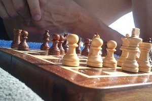 Chess game on the beach