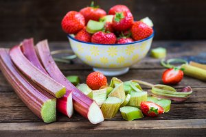Pieces of Raw and Fresh Cut Rhubarb