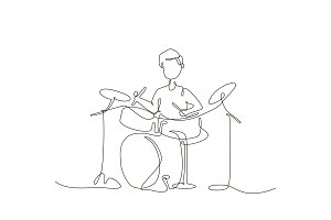 Boy playing drums - illustration