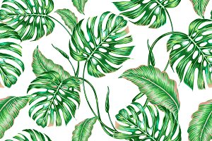 Tropical floral leaves pattern