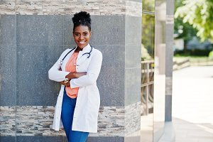 African american doctor female at la