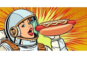 Hungry woman astronaut eating hot
