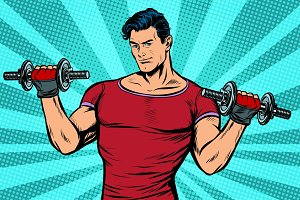 man with dumbbells, healthy