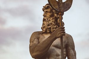 Sculpture of Neptune with trident