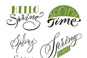Calligraphic Spring Inscriptions Set