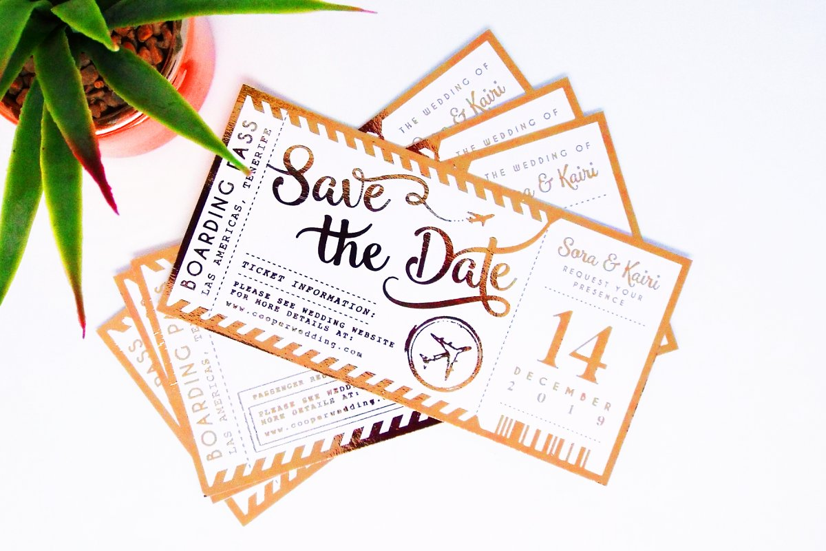 Save The Date Plane Ticket Template