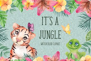 It's a jungle. Watercolor clipart