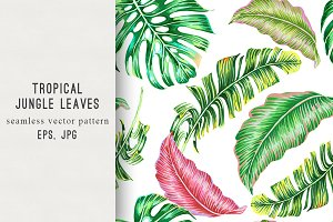 Tropical leaves summer pattern