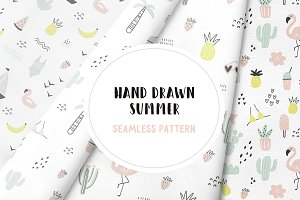 Hand drawn summer seamless pattern