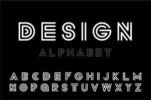 Modern designer font,striped letters