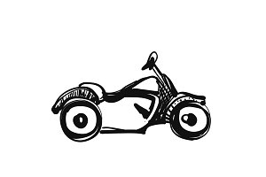 Motorcycle icon in doodle sketch
