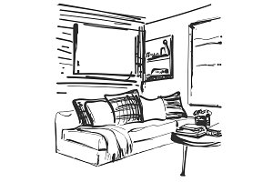Living room graphic black white