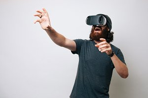 man looking in VR virtual reality